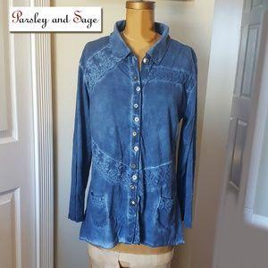 Parsley & Sage blue size Medium shirt